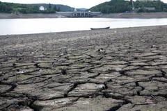 Dried water dam Stock Photo
