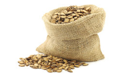 Dried watermelon seeds in a burlap bag Royalty Free Stock Photo