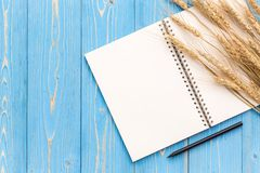 Dried wheat crop and blank of book for text or design on blue wo Royalty Free Stock Photos