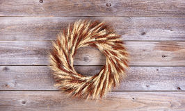 Dried wheat stalk wreath on rustic wooden boards Royalty Free Stock Image