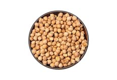 Dried White chickpeas, White Chana, Dried Chickpea Lentils, Pakistani/Indian beans in wooden bowl isolated on white Background. The chickpea or chick pea Cicer royalty free stock images