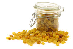 Dried white raisins in a glass jar Stock Photos