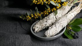 Free Dried White Sage Smudge Stick, Relaxation And Aromatherapy. Smudging During Psychic Occult Ceremony, Herbal Healing, Yoga Or Aura Royalty Free Stock Photos - 191055518