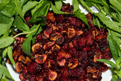 The dried wild cherry with fresh green mint. Stock Images