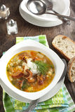 Dried Wild Mushroom and potato soup. Royalty Free Stock Image
