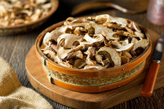Dried Wild Mushrooms. Sliced and dried wild mushrooms in a basket Stock Image