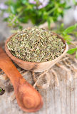Dried Winter Savory in a bowl Royalty Free Stock Photo