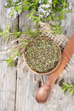 Dried Winter Savory in a bowl Stock Image