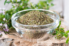 Dried Winter Savory in a bowl Stock Images