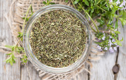 Dried Winter Savory in a bowl Stock Photos