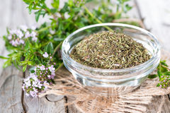 Dried Winter Savory in a bowl Royalty Free Stock Photography