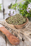 Dried Winter Savory in a bowl Royalty Free Stock Image