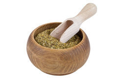 Dried Winter Savory spice in wooden bowl Royalty Free Stock Photos