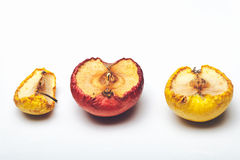 Dried wrinkled apple  on white Stock Images
