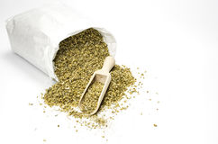 Dried yarrow in a paper bag royalty free stock images