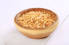 Dried yellow peas in bowl Royalty Free Stock Photo