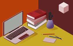 Driedimensioneel isometrisch beeld in rode en gele kleuren, voor wat betreft school, zaken, wetenschap, opleiding vector illustratie