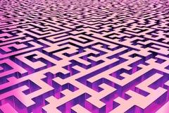 Driedimensioneel oneindig die labyrint in rood en purple, van de binnenkant wordt aangestoken Perspectiefmening van het labyrint stock illustratie