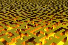 Driedimensioneel oneindig gouden labyrint dat van de binnenkant wordt verlicht Perspectiefmening van het labyrint stock illustratie
