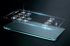 Driedimensionele apps op het smartphonescherm Stock Afbeelding