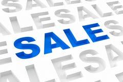 Driedimensionele blauwe verkoopinschrijving Stock Afbeelding