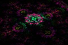 Driedimensionele bloemenfractal op dark Stock Afbeeldingen
