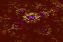 Driedimensionele bloemenfractal op dark Royalty-vrije Stock Afbeeldingen