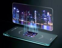 Driedimensionele foto op het smartphonescherm Stock Foto