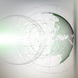 Driedimensionele gestippelde wereldbol met abstracte bouw en molecules op grijze achtergrond, lage polyontwerpvector stock illustratie