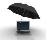 Laptop onder Paraplu stock illustratie