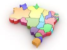 Driedimensionele kaart van Brazilië. 3d royalty-vrije illustratie