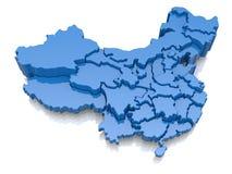 Driedimensionele kaart van China Royalty-vrije Stock Afbeeldingen