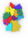 Driedimensionele kaart van Duitsland. 3d Stock Fotografie