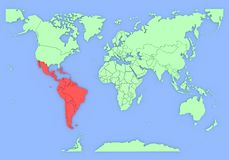 Driedimensionele kaart van geïsoleerdr Zuid-Amerika. Royalty-vrije Stock Afbeelding