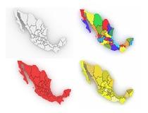 Driedimensionele kaart van Mexico op wit geïsoleerde achtergrond Royalty-vrije Stock Afbeeldingen