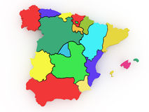 Driedimensionele kaart van Spanje. 3d Stock Afbeelding
