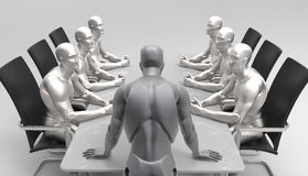 Driedimensionele menselijke commerciële vergadering Stock Afbeelding
