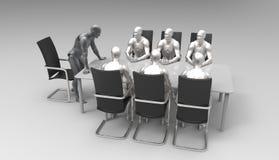 Driedimensionele menselijke commerciële vergadering Stock Foto's