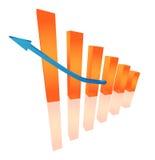 Driedimensionele oranje grafiek stock illustratie