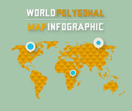 Driedimensionele veelhoekige wereldkaart en Stock Fotografie