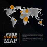 Driedimensionele veelhoekige wereldkaart en Royalty-vrije Stock Afbeeldingen