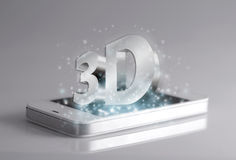 Driedimensionele verwoording op smartphone Royalty-vrije Stock Afbeeldingen