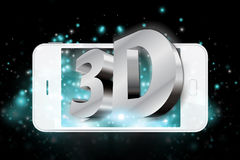 Driedimensionele verwoording op smartphone Stock Foto's