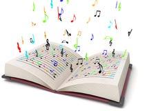 Driedimensionele vliegende muzieknoten stock illustratie