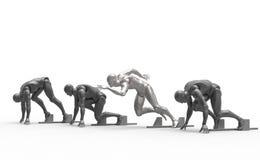 Driedimensionele witte menselijke looppas Stock Foto