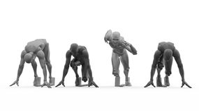 Driedimensionele witte menselijke looppas Stock Afbeelding