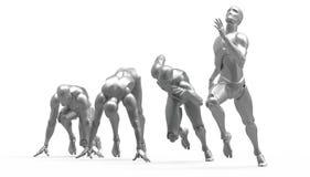 Driedimensionele witte menselijke looppas Stock Fotografie