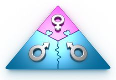 Driehoek 2 van de liefde Stock Foto's