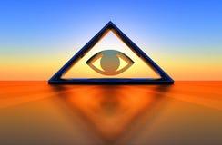 Driehoek en oog Stock Afbeelding