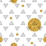 Driehoeken en gouden cirkels, lovertjes Naadloos patroon Geometrische, abstracte achtergrond Krabbelvormen Stock Afbeelding